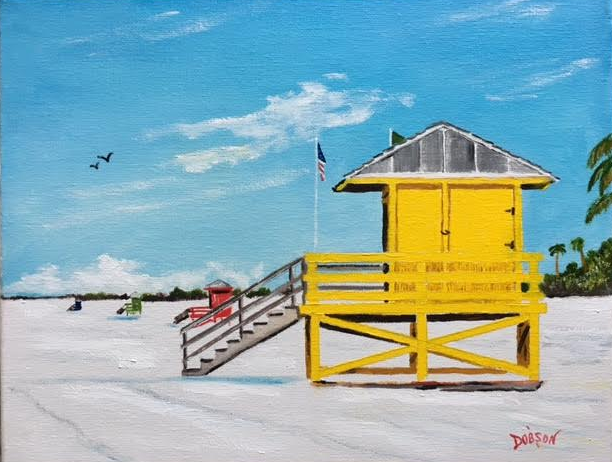"""""""Siesta Key Lifeguard Stands"""" #152117 BUY $140 11""""h x 14""""w - FREE shipping lower US 48 & Canada"""