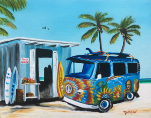"Private Collection Of: Melissa Huff Louisville, Kentucky ""Hippy Van At A Surf Shack"" #152917 $140 11""h x 14""w"