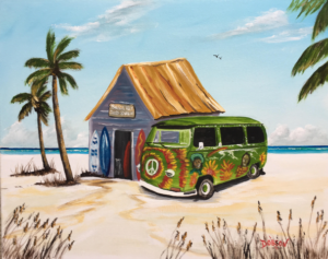 "Private Collection Of: Midge Furlong Siesta Key, Florida ""A Siesta Key Surf Shack"" #153117 - $250 16""h x 20""w"