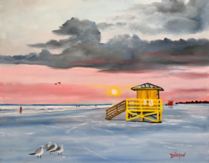 """""""Yellow Siesta Key Lifeguard Stand At Sunset"""" #153417 BUY $250 16""""h x 20""""w - FREE shipping lower US 48 & Canada"""