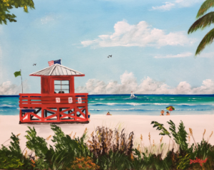"Private Collection Of: Chase Madden Boston, Ma. ""Siesta Key Red Lifeguard Stand"" #153517 $250 16""h x 20""w"