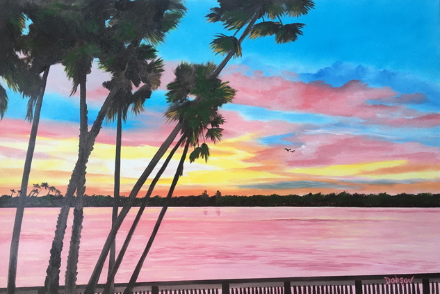 """""""Sunrise In Paradise"""" #153717 BUY $590 24""""h x 36""""w - FREE shipping lower US 48 & Canada"""