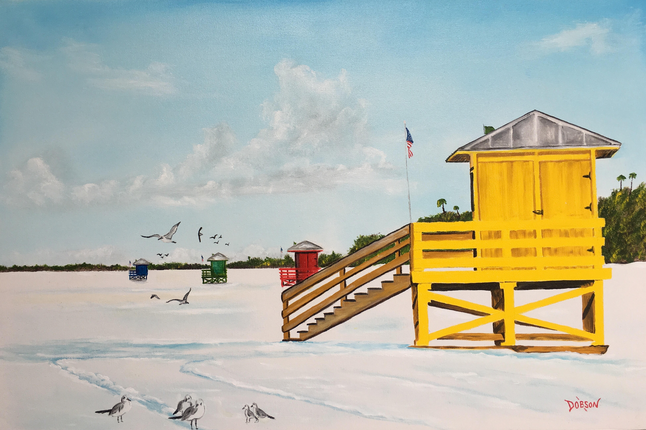 """""""Siesta Key Public Beach"""" #154217 BUY $590 24""""h x 36""""w - FREE shipping lower US 48 & Canada"""