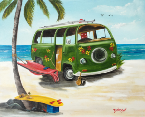 """""""VW In Paradise"""" #154317 BUY $250 16""""h x 20""""w - FREE shipping lower US 48 & Canada"""