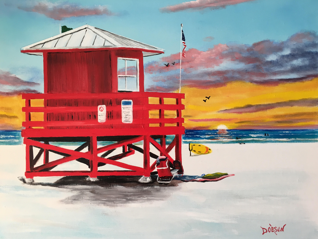 """""""Red Lifeguard Stand On SK"""" #155717 BUY $250 16""""h x 20""""w - FREE shipping lower US 48 & Canada"""