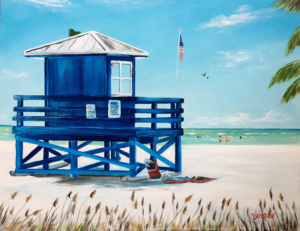 """""""Blue Lifeguard Stand"""" #156017  SOLD  $250 16""""h x 20""""w - FREE shipping lower US 48 & Canada"""