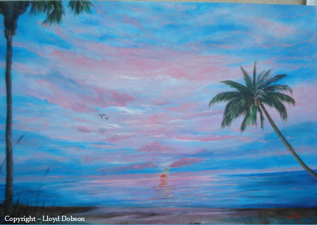 A Paradise Sunset #16114 BUY $275 24x36 - Free Shipping US Only