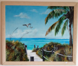 "Private Collection Of: Brad & Nancy Schneider - Chicago, Ilinois ""Beach Access"" 34x38 Framed $395 - #16414"