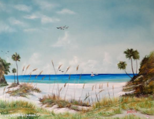 "Private Collection Of Patricia Zeller - University Hts, Ohio ""Sea Oats & Sail Boats On The Key"" 24x30 #17814"