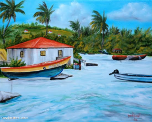 Jamaican Fishing Village #19514 BUY $225 16x20 - Free Shipping (USA) Only