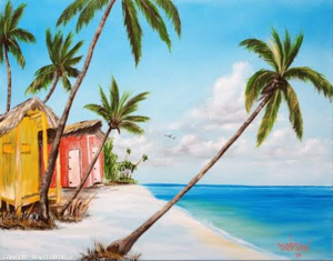"Private Collection Of: Joy & Mark Sagrry South Pasadena, Florida ""Shacks On The Beach"" #111414 - $250 16x20"