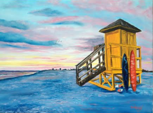 Private Collection Of: Scott Erickson Rockford, Illinois #112814 - $395.00 Siesta Key Life Guard Shack At Sunset 22x30