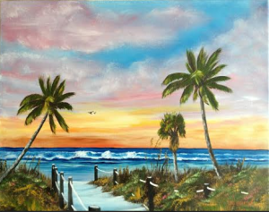 "Private Collection Of: Lorene & Greg Schrock Topeka, Indiana ""Siesta Key At Sunset"" #118415 16x20 $225"