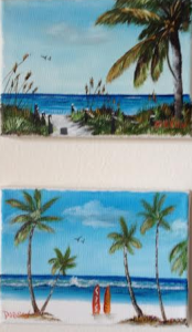 "Private Collection Of: Vivian Tamaz - Sarasota, Florida ""Siesta Key Beach"" & ""The Surf Is Up"" #118515 & #118615 5x7 - $35 per"