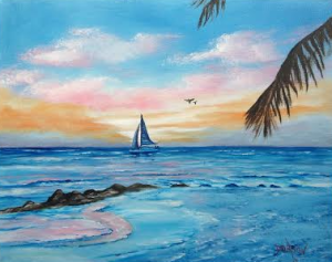 "Private Collection Of: Matthew Maguire Siesta Key, Florida ""Sailing On The Key"" #19915 - $250 16x20"