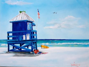 "Private Collection Of: Ed Farley Siesta Key, Florida ""Siesta Key Blue Life Guard Shack"" #122115 - $250 16x20"