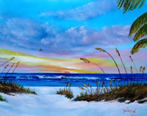 Private Collection Of: Kenda & Brian Friend Indianapolis, Indiana #122215 - $250.00 Sea Oats At Sunset 16x20