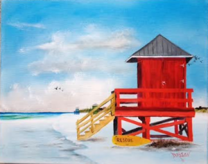 "Private Collection Of: Betty & Bruce Temeier Sarasota, Florida ""Red Life Guard Shack On The Key"" #124015 - $250 16x20"