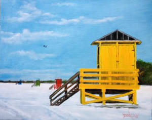 "Private Collection Of: Henry & Jessica Chang Tampa, Florida ""Lifeguard Shack On Siesta Key"" #124115 - $250.00 16x20"