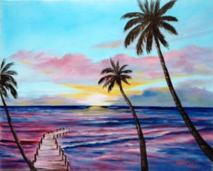 "Private Collection Of: Becka & Michael Whitman Milltown, New Jersey ""Fishing Pier At Sunset"" #124615 - $250 16x20"