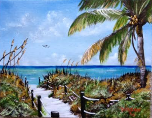 "Private Collection Of: Teri & Gary Rockar Tega-Cay, South Carolina ""Beach Access In Paradise"" 11x14 - $115"