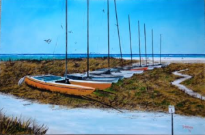 "Private Collection Of: David & Beth Sallmann Bradenton, Florida ""Siesta Key Access #8 Catamarans"" #126415 - $495 24x36"