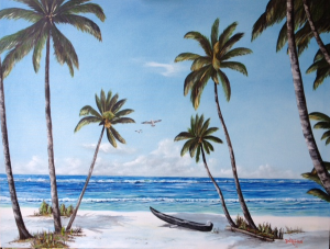 "Private Collection Of: Damian & Rachelle Lang Waterford, Ohio ""Paradise Beach"" #126915 $1095 34x44"