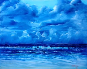 "Private Collection Of: Christy Krueger & Donovan Campbell Crown Point, In ""Storm On The Gulf"" #127415 - $250 - 16x20"