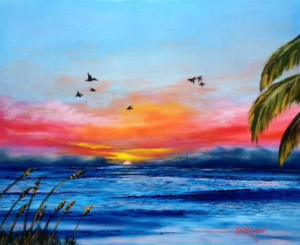 "Private Collection Of; Sue & Bob Whaalen Rockport, Maine ""Pelicans At Sunset"" #129015 - $250 16x20"