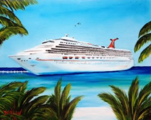 "Private Collection Of: Janet Day Siesta Key, Florida ""Another Carnival Cruise"" #129215 $250 16x20"