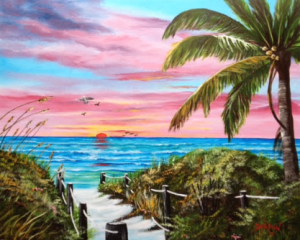 "Private Collection Of: Sarasota, Florida ""Sunset In Paradise"" #129915 - $495 24x30"
