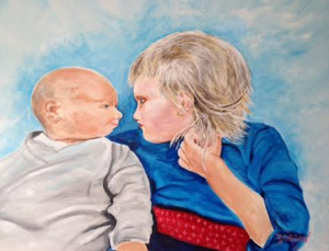 "Private Collection Of: Laura Lavelle Siesta Key, Florida ""Sibling Love Charlie & Matilda"" 24x30 - $695"