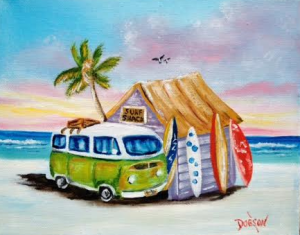 "Private Collection Of: Linda Colonbosian Andover, Ma ""Green VW Van & Surf Boards"" #132315 - $80 8x10"