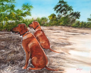 "Private Collection Of: Laura LaVelle Siesta Key, Florida ""Beau & Duke"" #132615 $595 24x30"