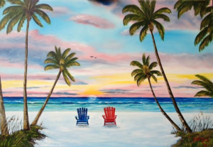 "Private Collection Of: Christy Krueger & Donovan Campbell Crown Point, Indiana ""Watching A Paradise Sunset"" #133115 - $495 24x36"