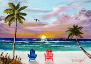 "Private Collection Of: Bonnie & Dale Fidler Aurora, Illinois ""Watching A Sunset On The Key"" #133816 - $40 5x7"