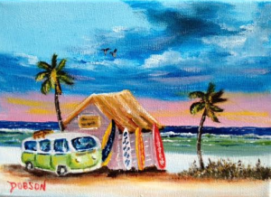 "Private Collection Of: Mary Webb Siesta Key, Florida ""Green VW Van"" #133916 $40 5x7"