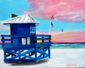 "Private Collection Of: Linda Colonbosi Andover, Ma ""Blue Lifeguard Shack On Siesta Key"" #134216 - $95 8x10"