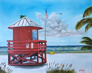 "Private Collection Of: Mike & Shelley Siesta Key, Florida ""Siesta Key Red Lifeguard Shack"" #134616A $250 16x20"