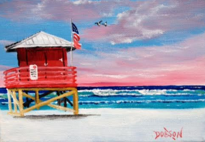 "Private Collection Of: Roman Urnaut Aarau, Switzerland ""Red Lifeguard Shack"" #135916 - $40 5x7"