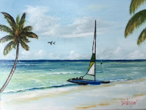 "Private Collection Of: William Bigelow Evansville, Indiana ""Catamaran On The Beach"" #137416 - $95 8x10"
