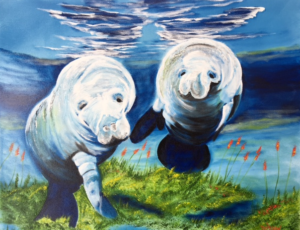 "Private Collection Of: Rob & Kim Trzecinski Lakewood Ranch, Florida ""Two Curious Manatees"" #137716 - $495 24x30"