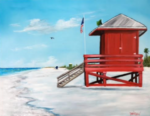 "Private Collection Of: Henry & Jessica Chang Tampa, Florida ""Let's Meet At The Red Lifeguard"" #138316 - $250.00 16x20"
