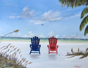 "Private Collection Of: Mike Garanthom Siesta Key, Florida ""Siesta Key Blue Lifeguard Stand"" #138916 $250 16x20"