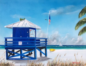 "Private Collection Of: Tom & Shawn Paulus ""Meet At The Blue Lifeguard Shack"" #140016 $250 16x20"
