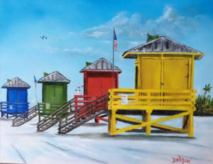 "Private Collection Of: Maureen Gresk Siesta Key, Florida ""Siesta Key Lifeguard Shacks"" #140216 $250 16x20"