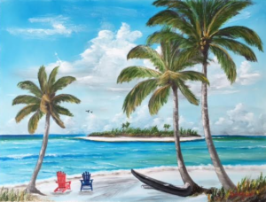 "Private Collection Of: John & Sherry Becker Cincinnati, Ohio ""Tropical Island"" #140516 $350 18x24"