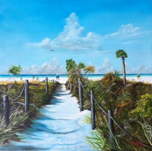 "Private Collection Of: Patti Reischl Plymouth, Wisconsin ""Siesta Beach Access"" 24x24 - $490"