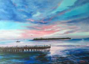"Private Collection Of: Nicole Baxby Catula, Georgia """"Sunset Pier Tiki Bar Key West, Florida"" #142716 $590 30x40"
