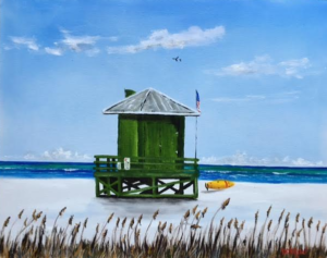 "Private Collection Of: Mary Brown Lakewood Ranch, Florida ""Green Lifeguard Stand"" #143316 - $250 16x20"